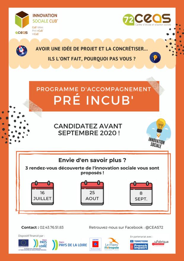 Appel à candidatures pour la rentrée 2020 – Accompagnements Pré Incub' !