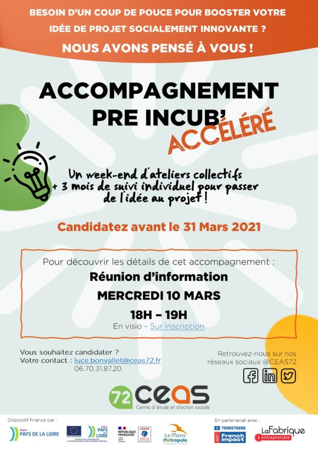 Appel à candidatures – Accompagnement Pré Incub' Accéléré !